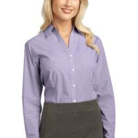 Ladies Plaid Pattern Easy Care Shirt Thumbnail