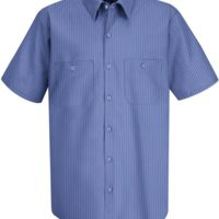 Industrial Stripe Short Sleeve Work Shirt Thumbnail