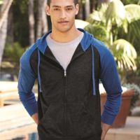 Lightweight Jersey Raglan Hooded Full-Zip T-Shirt Thumbnail